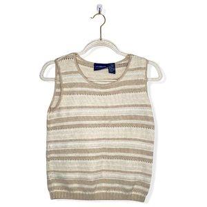 Liz Claiborne Cream Striped Sweater Vest Small